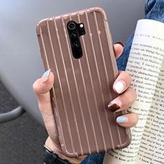 Silikon Hülle Handyhülle Gummi Schutzhülle Flexible Tasche Line C04 für Xiaomi Redmi Note 8 Pro Braun