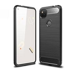 Silikon Hülle Handyhülle Gummi Schutzhülle Flexible Tasche Line für Google Pixel 4a Schwarz