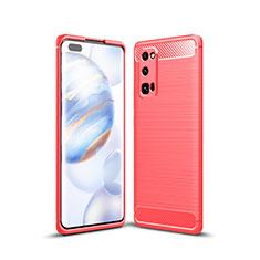 Silikon Hülle Handyhülle Gummi Schutzhülle Flexible Tasche Line für Huawei Honor 30 Pro Rot