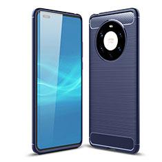 Silikon Hülle Handyhülle Gummi Schutzhülle Flexible Tasche Line für Huawei Mate 40 Pro+ Plus Blau