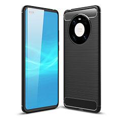 Silikon Hülle Handyhülle Gummi Schutzhülle Flexible Tasche Line für Huawei Mate 40 Pro Schwarz