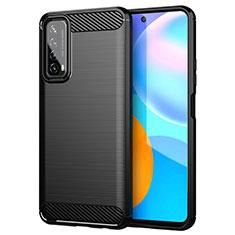 Silikon Hülle Handyhülle Gummi Schutzhülle Flexible Tasche Line für Huawei P Smart (2021) Schwarz