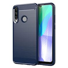 Silikon Hülle Handyhülle Gummi Schutzhülle Flexible Tasche Line für Huawei Y6p Blau
