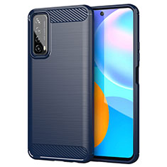 Silikon Hülle Handyhülle Gummi Schutzhülle Flexible Tasche Line für Huawei Y7a Blau