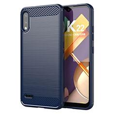 Silikon Hülle Handyhülle Gummi Schutzhülle Flexible Tasche Line für LG K22 Blau