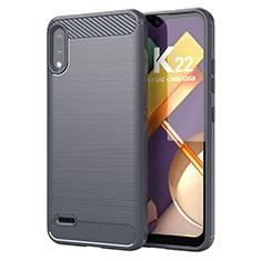Silikon Hülle Handyhülle Gummi Schutzhülle Flexible Tasche Line für LG K22 Grau