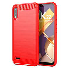 Silikon Hülle Handyhülle Gummi Schutzhülle Flexible Tasche Line für LG K22 Rot