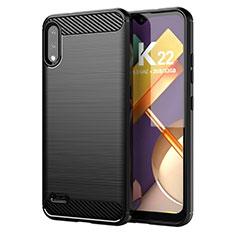 Silikon Hülle Handyhülle Gummi Schutzhülle Flexible Tasche Line für LG K22 Schwarz