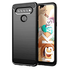 Silikon Hülle Handyhülle Gummi Schutzhülle Flexible Tasche Line für LG K41S Schwarz