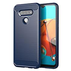 Silikon Hülle Handyhülle Gummi Schutzhülle Flexible Tasche Line für LG K51 Blau