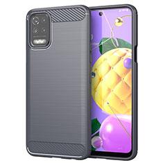 Silikon Hülle Handyhülle Gummi Schutzhülle Flexible Tasche Line für LG K52 Grau