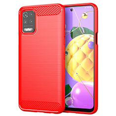 Silikon Hülle Handyhülle Gummi Schutzhülle Flexible Tasche Line für LG K52 Rot