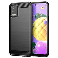 Silikon Hülle Handyhülle Gummi Schutzhülle Flexible Tasche Line für LG K52 Schwarz