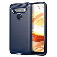Silikon Hülle Handyhülle Gummi Schutzhülle Flexible Tasche Line für LG K61 Blau