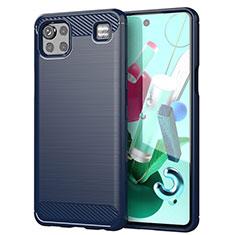 Silikon Hülle Handyhülle Gummi Schutzhülle Flexible Tasche Line für LG K92 5G Blau