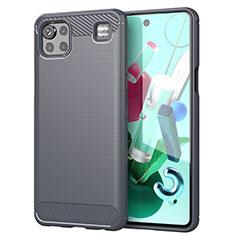 Silikon Hülle Handyhülle Gummi Schutzhülle Flexible Tasche Line für LG K92 5G Grau