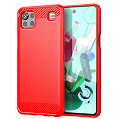 Silikon Hülle Handyhülle Gummi Schutzhülle Flexible Tasche Line für LG K92 5G Rot