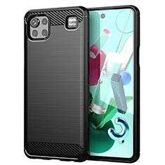 Silikon Hülle Handyhülle Gummi Schutzhülle Flexible Tasche Line für LG K92 5G Schwarz