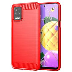Silikon Hülle Handyhülle Gummi Schutzhülle Flexible Tasche Line für LG Q52 Rot