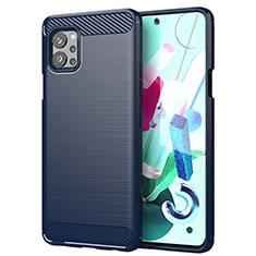 Silikon Hülle Handyhülle Gummi Schutzhülle Flexible Tasche Line für LG Q92 5G Blau