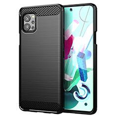 Silikon Hülle Handyhülle Gummi Schutzhülle Flexible Tasche Line für LG Q92 5G Schwarz