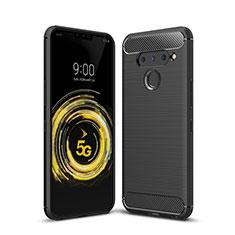Silikon Hülle Handyhülle Gummi Schutzhülle Flexible Tasche Line für LG V50 ThinQ 5G Schwarz