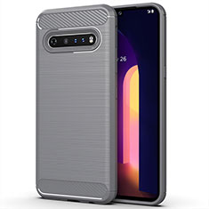 Silikon Hülle Handyhülle Gummi Schutzhülle Flexible Tasche Line für LG V60 ThinQ 5G Grau