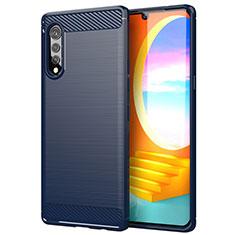 Silikon Hülle Handyhülle Gummi Schutzhülle Flexible Tasche Line für LG Velvet 4G Blau