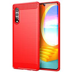Silikon Hülle Handyhülle Gummi Schutzhülle Flexible Tasche Line für LG Velvet 4G Rot