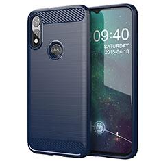 Silikon Hülle Handyhülle Gummi Schutzhülle Flexible Tasche Line für Motorola Moto E (2020) Blau