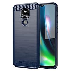 Silikon Hülle Handyhülle Gummi Schutzhülle Flexible Tasche Line für Motorola Moto E7 Plus Blau