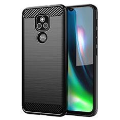 Silikon Hülle Handyhülle Gummi Schutzhülle Flexible Tasche Line für Motorola Moto E7 Plus Schwarz