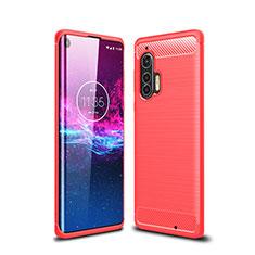 Silikon Hülle Handyhülle Gummi Schutzhülle Flexible Tasche Line für Motorola Moto Edge Plus Rot