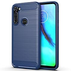 Silikon Hülle Handyhülle Gummi Schutzhülle Flexible Tasche Line für Motorola Moto G Stylus Blau