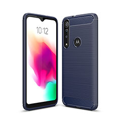 Silikon Hülle Handyhülle Gummi Schutzhülle Flexible Tasche Line für Motorola Moto G8 Play Blau