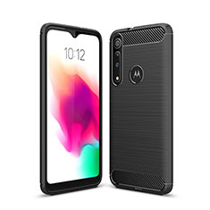 Silikon Hülle Handyhülle Gummi Schutzhülle Flexible Tasche Line für Motorola Moto G8 Play Schwarz