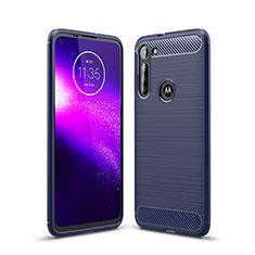 Silikon Hülle Handyhülle Gummi Schutzhülle Flexible Tasche Line für Motorola Moto G8 Power Blau