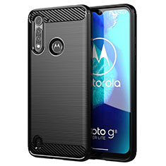 Silikon Hülle Handyhülle Gummi Schutzhülle Flexible Tasche Line für Motorola Moto G8 Power Lite Schwarz