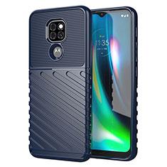 Silikon Hülle Handyhülle Gummi Schutzhülle Flexible Tasche Line für Motorola Moto G9 Play Blau