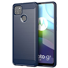Silikon Hülle Handyhülle Gummi Schutzhülle Flexible Tasche Line für Motorola Moto G9 Power Blau