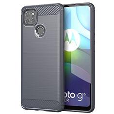Silikon Hülle Handyhülle Gummi Schutzhülle Flexible Tasche Line für Motorola Moto G9 Power Grau