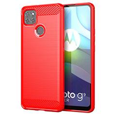 Silikon Hülle Handyhülle Gummi Schutzhülle Flexible Tasche Line für Motorola Moto G9 Power Rot