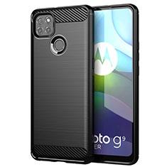 Silikon Hülle Handyhülle Gummi Schutzhülle Flexible Tasche Line für Motorola Moto G9 Power Schwarz