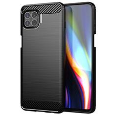 Silikon Hülle Handyhülle Gummi Schutzhülle Flexible Tasche Line für Motorola Moto One 5G Schwarz