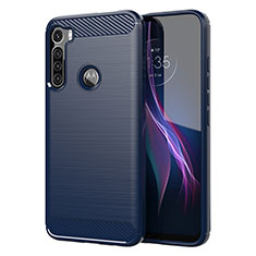 Silikon Hülle Handyhülle Gummi Schutzhülle Flexible Tasche Line für Motorola Moto One Fusion Plus Blau