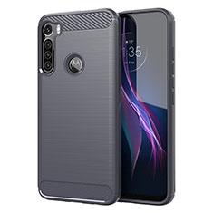 Silikon Hülle Handyhülle Gummi Schutzhülle Flexible Tasche Line für Motorola Moto One Fusion Plus Grau