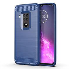 Silikon Hülle Handyhülle Gummi Schutzhülle Flexible Tasche Line für Motorola Moto One Zoom Blau