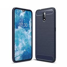 Silikon Hülle Handyhülle Gummi Schutzhülle Flexible Tasche Line für Nokia 2.3 Blau