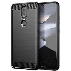 Silikon Hülle Handyhülle Gummi Schutzhülle Flexible Tasche Line für Nokia 2.4 Schwarz