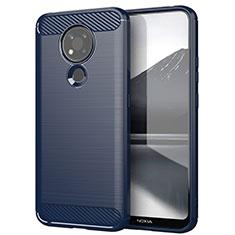 Silikon Hülle Handyhülle Gummi Schutzhülle Flexible Tasche Line für Nokia 3.4 Blau